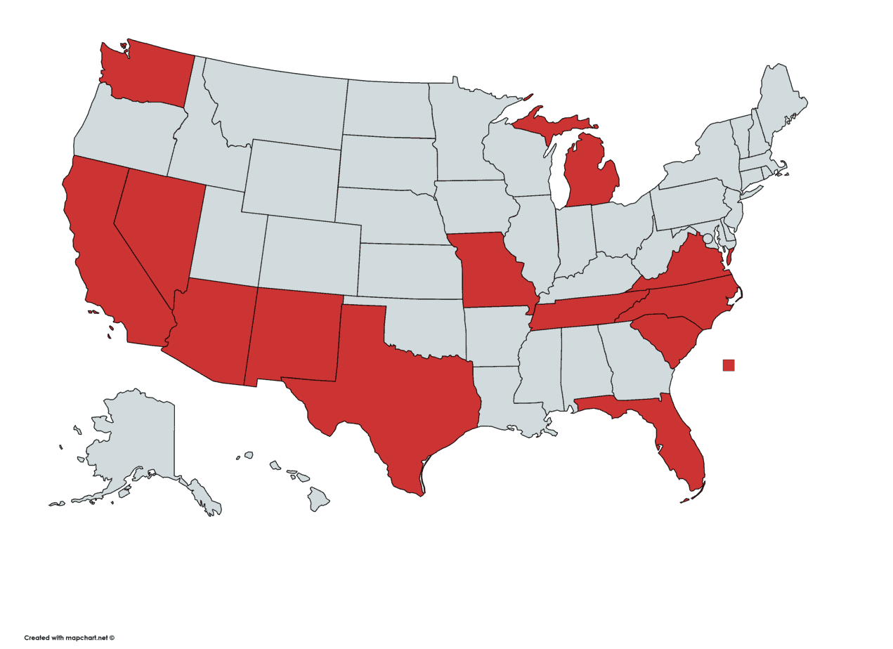 Map of states where we are licensed for Medicare Supplement Insurance. Arizona, California, Florida, Michigan, Missouri, Nevada, New Mexico, North Carolina, South Carolina, Tennessee, Texas, Virginia, and Washington.